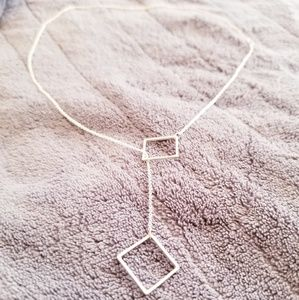 Silver tone square necklace